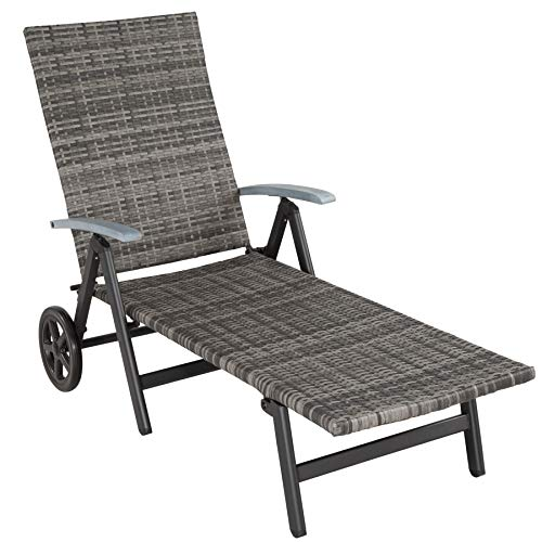 TecTake 800722 Aluminium Poly Rattan Sonnenliege mit Armlehnen und Rollen, klappbar, Gartenliege mit höhenverstellbarer Rückenlehne - Diverse Farben - (Grau | Nr. 403219)