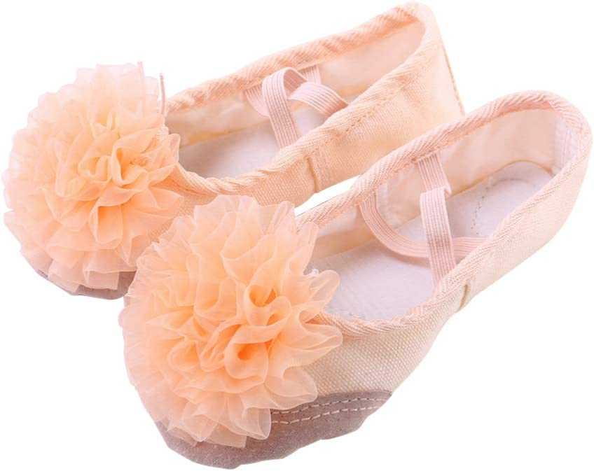 Healifty Girl Ballet Shoes Full Sole Ballet Slipper Yoga Split Flats Belly Dance Shoes for Kids Children Size 30