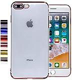 COOVY® Funda para Apple iPhone 7 + Plus / 8 + Plus Ligera de silicio TPU, Ultrafina, Transparente con Bordes de Aspecto Cromado | Color Oro Rosa