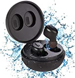 IP68 Waterproof Earbuds for Swimming Shower Bath Driving Sauna, Bluetooth 5.0 Wireless Earbuds with Wireless Charging Case, Premium Deep Bass Earphones in Ear Headset Built-in Mic for Sport/Gym