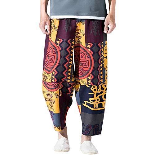 MINIKIMI heren harembroek grote maten linnen broek retro pompbroek met bedrukte yoga Goa broek Baggy vrijetijdsbroek