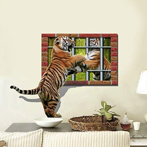 Hmg 3D Tiger extraíble Arte de la Pared Pegatinas, tamaño: 75,6 x 58 x 0,3 cm