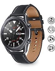 Samsung Galaxy Watch 3 Smartwatch Bluetooth, behuizing 45 mm, staal, lederen band, satuurmeter, valherkenning, sportbewaking, 53,8 g, accu 340 mAh, IP68, Mystic Black [Italiaanse versie]