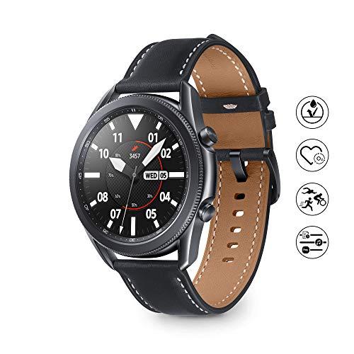 Samsung Galaxy Watch3 Montre connectée Bluetooth, boîtier 45 mm Acier, Bracelet en Cuir, détection de Chute, Suivi du Sport, 53,8 g, Batterie 340 mAh, IP68, Mystic Black Version FR