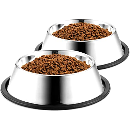 WEDAWN Dog Bowls Stainless Steel, Water and Food Non Slip Pet Puppy Dishes for Small, Medium, Large, Dogs, Cats, Rabbit, Anti Skid Stackable Outdoor pet Bowls