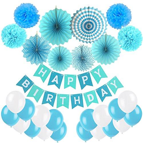 ZERODECO Geburtstag Dekoration, Happy Birthday Wimpelkette Girlande mit 4 Seidenpapier Pompoms, 6 Papier Fans Fächer und 20 Luftballons - Blau, Hellblau und Weiß