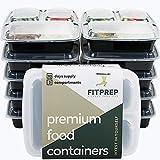 FITPREP® - DAS ORIGINAL - 3-Fach Meal Prep Boxen - 10er Pack - für Meal Prep empfohlen- inkl. schönem Rezeptheft, BPA frei