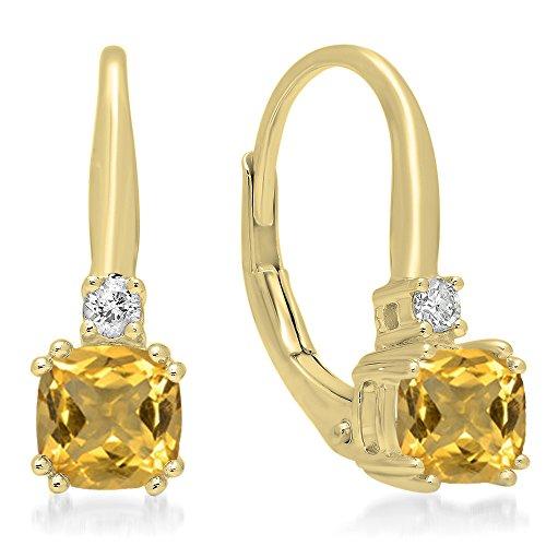 Citrine Diamond Dangling Earrings