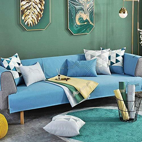 Fundas de sofá universales Antideslizantes, Funda Suave Lavable, Funda de sofá de Jacquard para protección de Muebles, para sofá de sillón Azul 90x90cm (35x35 Pulgadas)