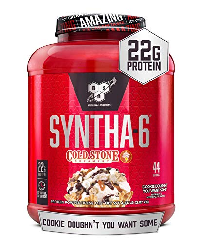 BSN Syntha-6 Whey Protein Powder, Cold Stone Creamery- Cookie Doughn't You Want Some, Micellar Casein, Milk Protein Isolate Powder, 44 Servings