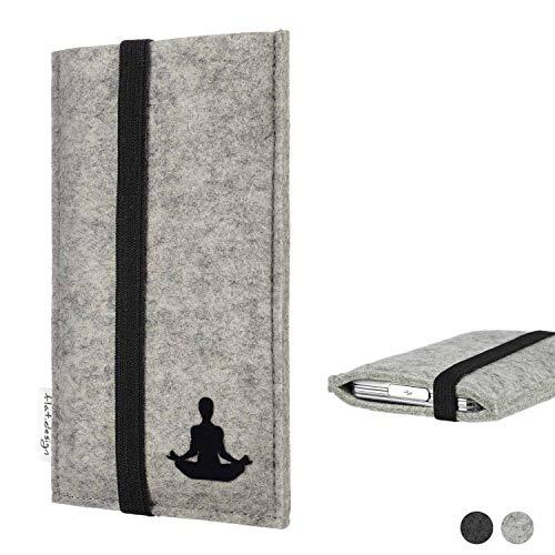 flat.design Handy Hülle Coimbra für Shift Shift6m - Yoga Asana Lotussitz Tasche Case Filz Made in Germany hellgrau schwarz
