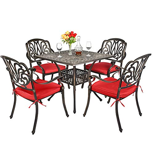 TITIMO 5-Piece Outdoor Furniture Dining Set, All-Weather Cast Aluminum Conversation Set Includes 1 Square Table and 4 Chairs with Red Cushions and Umbrella Hole for Patio Garden Deck, Flower Design