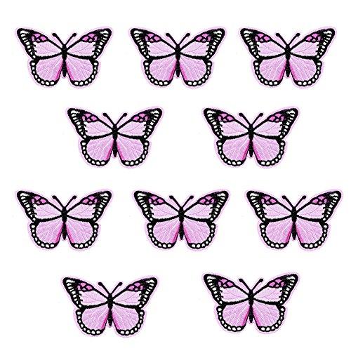XUNHUI Rosa Schmetterling für Bekleidung mit Stickerei Applikation Patches Abzeichen Aufbügel Flicken Nähen Zubehör für Kleidung 10 Stück