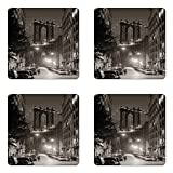 Urban Coaster Set of Four, Manhattan Bridge from Street at Night Downtown New York States United States Photo, Square Hardboard Gloss Coasters for Drinks, Army Green 100X100CM