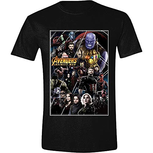 Marvel Camiseta Avengers para Hombre Infinity War Poster Collage Cotton Black -...