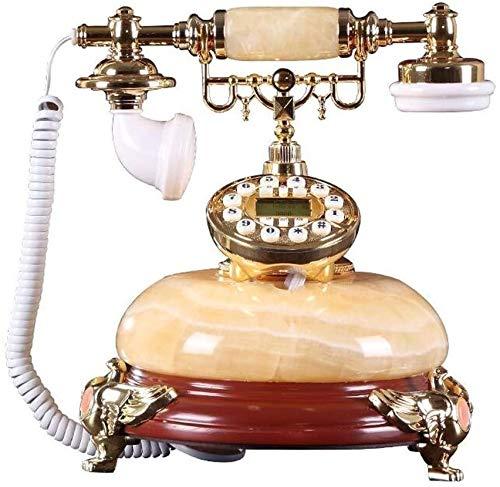 AWAING Telefonos Antiguos Vintage Teléfono de casa de línea Fija Retro Teléfono con Cable Hotel de Oficina de Villa de mármol