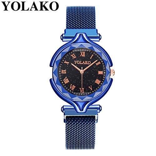 Uhr Armbanduhren Männer Damenuhren Hansee Quarz Edelstahl Band Armbanduhr Frauen Magnet Wölbung Unregelmäßige Spiegel Uhr Uhren Wrist Watches(C)