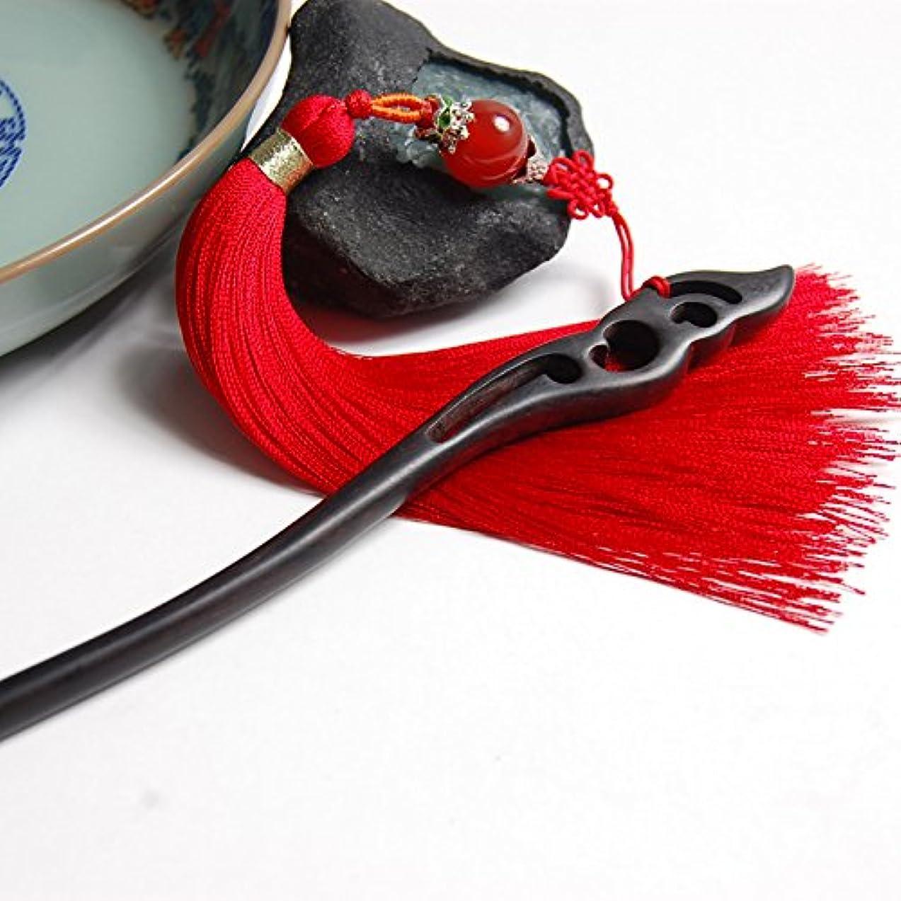 破滅シェフロードされたHuaQingPiJu-JP 中国式エボニーレトロタッセルヘアピンパレスヘアクリップ(赤)
