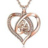 EUDORA Collar para Mama Colgante de Oro Rosa con Corazón para Madre, Collar de Madre e Hija Hijo, Regalos para tu Madre Mama Hija, Regalo del día de la Madre