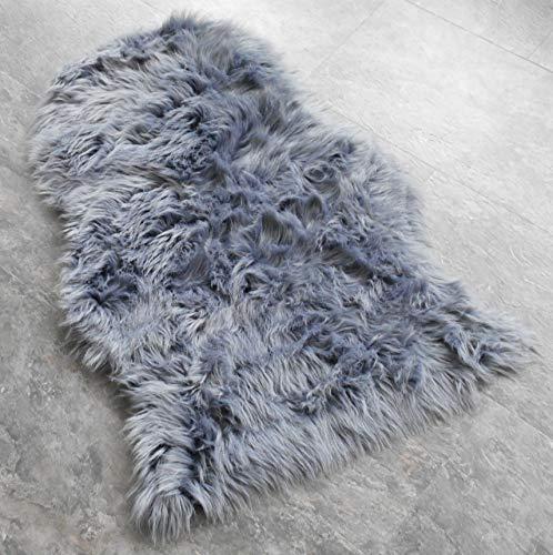 Schaffell Lammfell Fell Teppich Imitat Kunstfell Auflage Bettvorleger Schaf Lamm ca. 60x90 cm (Grau)