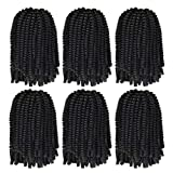 6 Pack Premium Spring Twist Hair - Natural Black #1B Spring Twist Crochet Hair, Low Temperature Synthetic Fluffy Braiding Hair Extensions for Braiding (8 Inches, 15 Strands/pack)