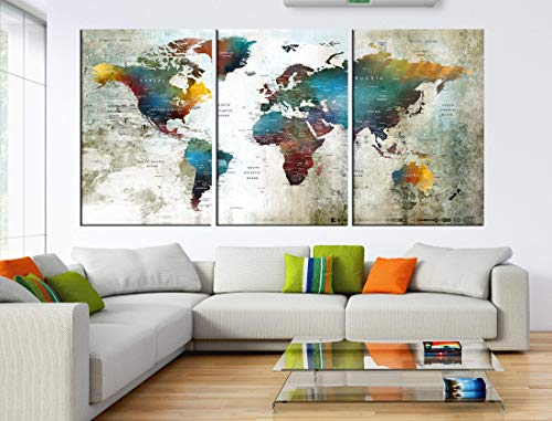 World Map Push Pin Wall Decal With Countries, World Map Canvas Print, World Travel Map, Watercolor Map Of The World Travel Tracker hr92