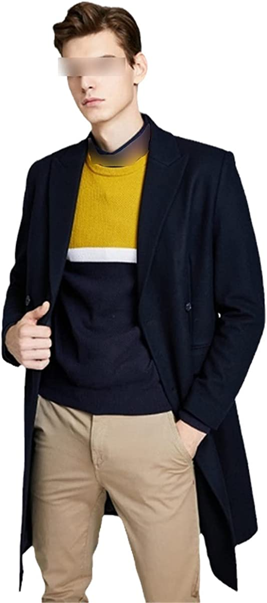 Vintage Woolen Blended Outwear Double-Breasted Wool Coat