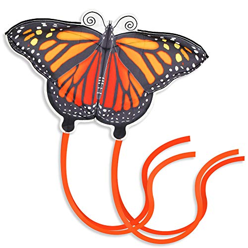 Giant Kites for Kids and Adults, Easy to Fly Butterfly Kite for Girls Best for Beach, Summer Activities, and Outdoor Games, Beautiful Orange Monarch Kite Easy to Assemble 46 Inch with Line and Spool