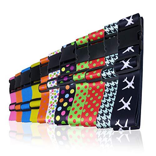 Wenter.S Koffergurte - einzigartiger Kofferband Gurt - Premium Gepäckgurt zur Individualisierung Ihrer Koffer - Gurt (Set 2 St schwarz) Kofferband