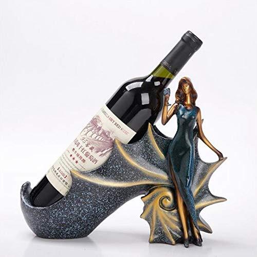 CHEJHUA Domicile Bar Cocina Rack Vino Titular de Vino Estante Resina Escultura práctica Soporte de Vino Decoración del hogar Midland Crafts Regalo Gabinete del Vino (Color : Blue)