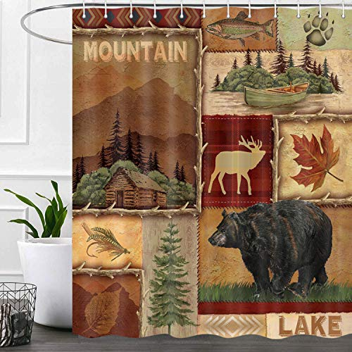 iTapnoom Rustic Bear Shower Curtains Set, Lake Country Lodge Cabin Moose Fabric RV Shower Curtain for Bathroom, Farmhouse Camp Woodland Bathroom Accessories Decor, Hooks Included 72X72 Inches