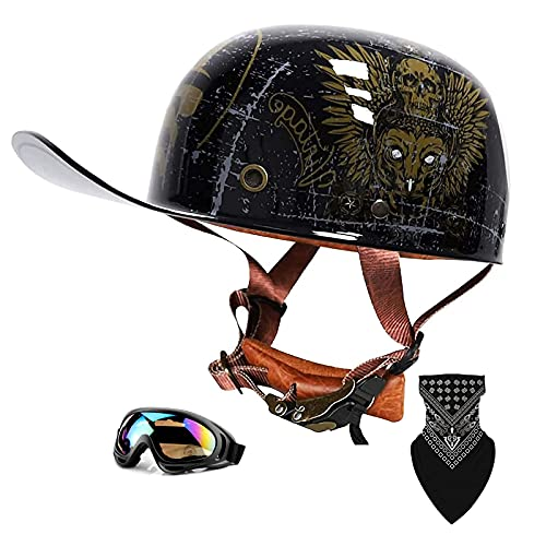 QHHALXZ Casco de motocicleta de verano con diseño de calavera para hombres y mujeres, aprobado por DOT, ligero, de cara abierta, para motos, cascos de moto ersonality