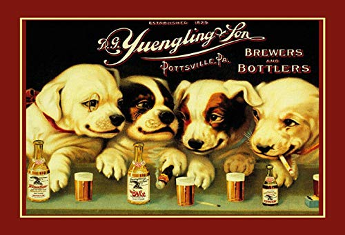 Bidesign Yuengling & Son Ale and Beer Dogs Metal Sign Rectangle Custom Metal Sign 8X12in-Bar Cafe Restaurant Home Decor