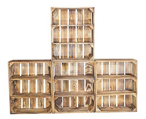 Vintage-Möbel24 GmbH 4er Set Regalkiste flach mit 3 Fächern in Geflammt - Flambiertes Kistenregal als Gewürzregal 50x40,5x16cm