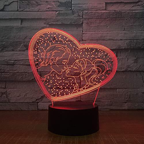 Paar Liefde 3D illusie lamp LED nachtlicht met 7 kleuren wijzigen en afstandsbediening verjaardag en kerstgeschenken voor kinderen slaapkamer decoratieve tafellamp