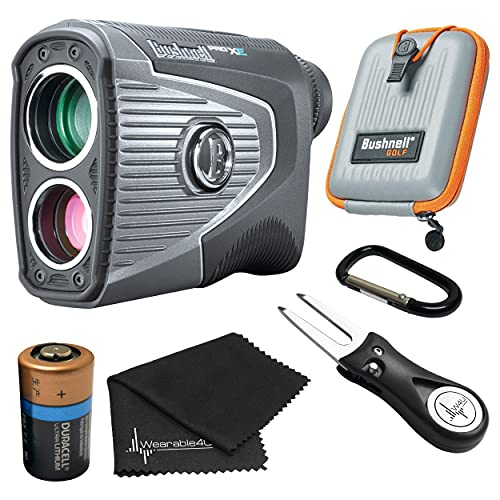 Bushnell PRO XE Advanced Laser Golf Rangefinder with Included Carrying Case, Carabiner, Lens Cloth, and Selected Wearable4U Golf Tool Bundle