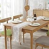 GLCS GLAUCUS 5 Stück Jute Tischläufer mit Weiß Spitze, Weihnachten Winter Juteband Spitzenband 30*275 cm Vintage Tischdekoration Tischband für Hochzeit, Fest, Party - 7