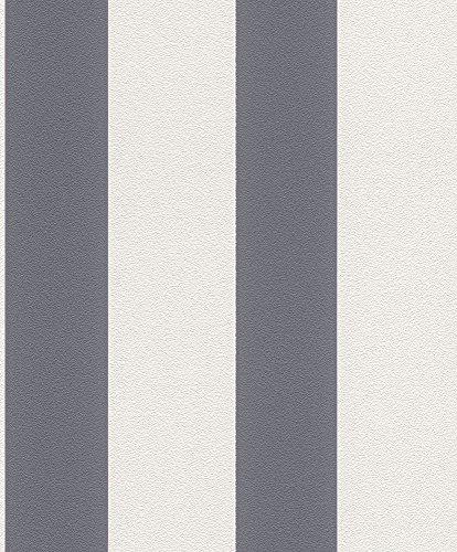 Vliestapete Streifen Gestreift weiß grau Tapete Rasch Prego 700237