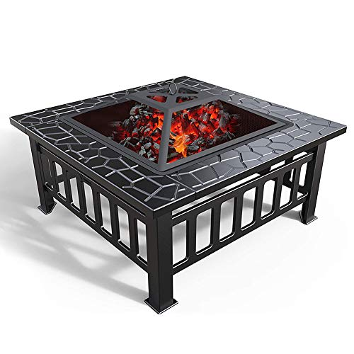 ZDYLM-Y Outdoor Fire Pit Metal Square Firepit Patio Stove with Spark Screen Cover and Poker, for Backyard Garden Camping Picnic Bonfire