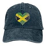 NOBRAND Secado Rápido Dad Hat,Cómoda Sombrero De Deporte,Transpirable Ocio Sombrero,Bandera De Jamaica Apenada Corazón Jamaicano Hombres O Mujeres Pantalones Vaqueros Ajustables Gorras De Béisbol