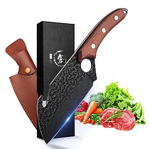 Handgeschmiedete Fleisch Cleaver 6,3 Zoll Küche Chef Messer mit Lederscheide und Geschenk-Box Outdoor Metzger Messer gehämmert Chopper Boning Messer für Zu Hause, Camping, BBQ
