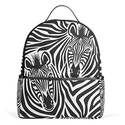 COOSUN Zebra paar school rugzak lichtgewicht canvas boek tas voor jongens meisjes kinderen