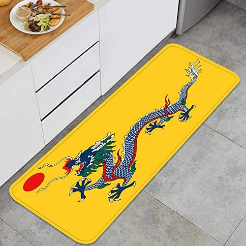 SXCVD Alfombrilla de Cocina Antideslizante Bandera histórica Imperio China dinastía Qing Decoración Piso de Alfombra para baño, Sala de Estar, Oficina, fregadero-120cm x 45cm