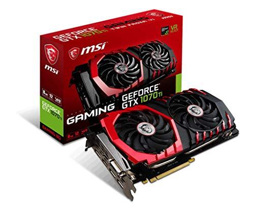 MSI GeForce GTX 1070TI Gaming 8GB Nvidia GDDR5 1x HDMI, 3x DP, 1x DL-DVI-D, 2 Slot Afterburner OC, VR Ready, 4K-optimiert, Grafikkarte