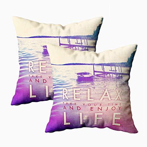 Funda de almohada, 2 paquetes de fundas de almohada de cama, cojín, suave, para el hogar, sofá, decorativo, inspirador, tipográfico, cita, relájate, tómate tu tiempo, disfruta de la vida, doble impres