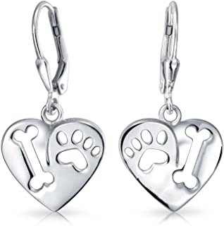 I Love My Dog Heart Shape Cut Out Puppy Bone Animal Lover Paw Print Drop Leverback Earrings 925 Sterling Silver