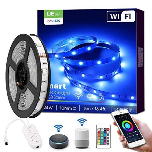 LE LED Strip 5m, Alexa 24W RGB 5050 LED Stripes Dimbaar, Slimme IP20 Waterdicht LED Strook, Smartphone APP Bestuurd, Afstandsbediening en Stembediening, LED-stripverlichting voor Huis, Tuin, Keuken, Feest Decoratie [alleen 2,4GHz] Lichtstrips Compatibel met Google Home