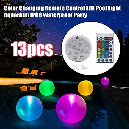 WERTAZ Unterwasser LED Licht mit Fernbedienung, Multi Farbwechsel wasserdichte Schwimmbadleuchten Dekoration Sommerlicht für Pool Pond Party Garden