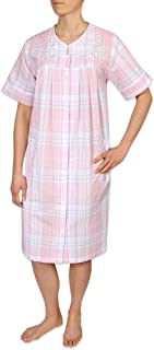 Miss Elaine Women's Seersucker Short Snap Robe - with Short Sleeves, Two Front Pockets, and Embroidery on The Front Yoke