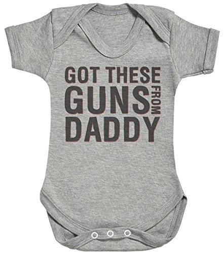 Baby Buddha Got These Guns from Daddy Body bébé - Gilet bébé - Body bébé Ensemble-Cadeau - Naissance Gris
